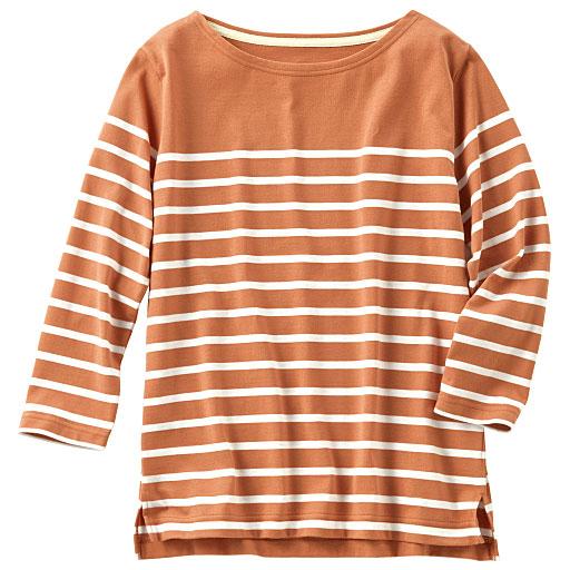 ボートネックボーダーTシャツ(七分袖)