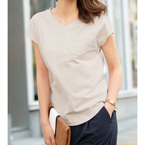 大人きれいなコットンフレンチスリーブTシャツ