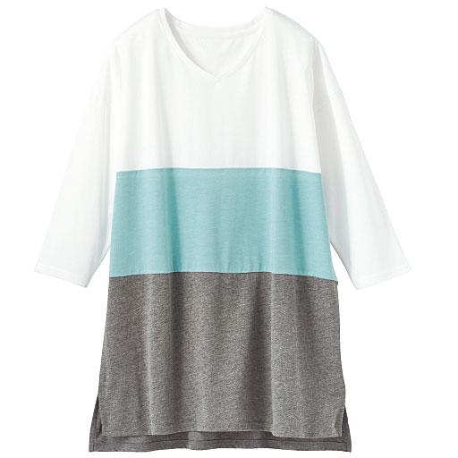 Vネックゆったり配色Tシャツ