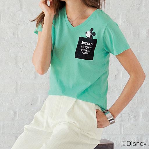 Vネックポケット付きTシャツ(ディズニー)