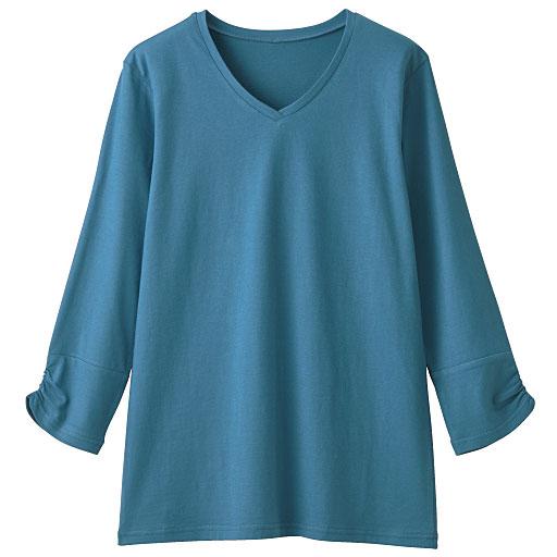 VネックギャザースリーブTシャツ(7分袖)