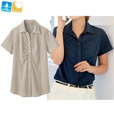 涼感カットソーシャツ(フロントギャザー半袖)