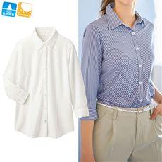 涼感カットソーシャツ(レギュラーカラー7分袖)