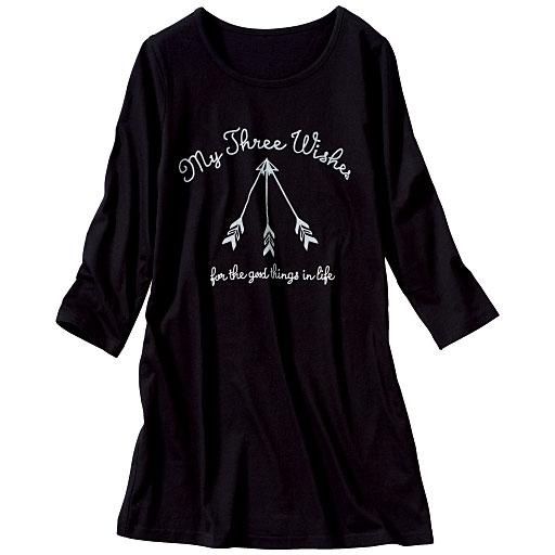7分袖プリントロングTシャツ