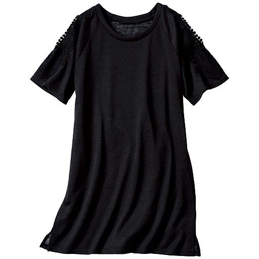 オープンショルダーレースTシャツ