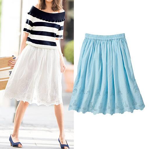【大きいサイズ プランプ】暑い夏をおしゃれに可愛く過ごせる♪爽やかな素材&デザインの裾刺繍使いスカート