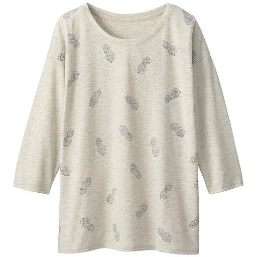衿ぐりデザインが選べるプリントTシャツ(7分袖)