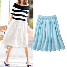 裾刺繍使いスカート