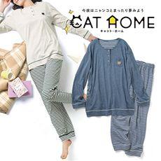 ワンポイントネコの半開パジャマ(CAT HOME)