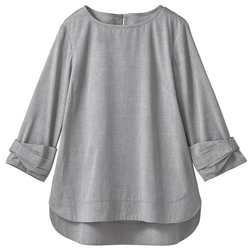 袖リボンブラウス(7分袖)(形態安定 UVカット 速乾 冷感)