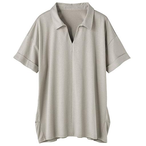 大人きれいな抜き衿ロングプルオーバー