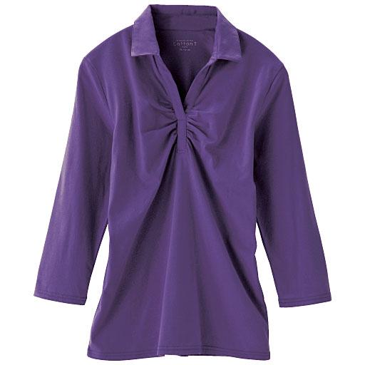 スキッパー衿ギャザーTシャツ(7分袖)