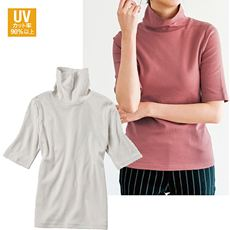 UVカットルーズネックTシャツ(五分袖)