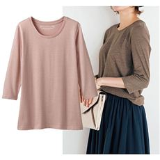 シンプルクルーネックTシャツ(七分袖)