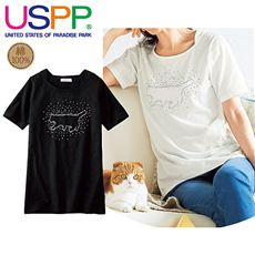 ネコラインストーンTシャツ(USPP)