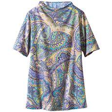 ボトルネック5分袖Tシャツ