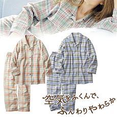 柔らかネルシャツパジャマ(綿100%)(チェック柄)
