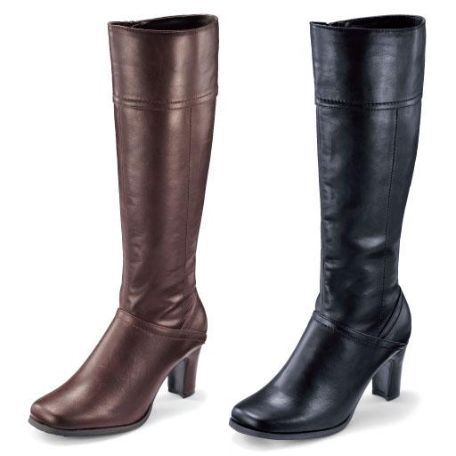 私サイズですっきり決まる!「選べる筒周り3サイズブーツ」。きれいめデザインも足指のびのびオブリークトウならゆったり快適。つま先に負担をかけにくいゆったり設計で履き心地ラクちん。縦ラインステッチと高めヒールですらりと美脚見せ効果も。