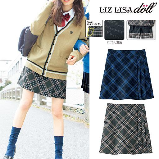 LIZ LISA doll インナーパンツ付き チェック柄プリーツスカート(スクール・制服)