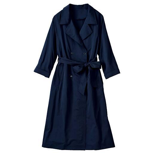 50%OFF【レディース大きいサイズ】 コート(共布ベルト付き) 3L、4L、5L ブルー