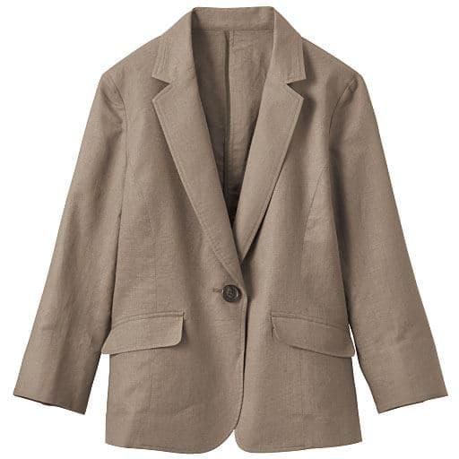 【レディース】 丈が選べるフレンチリネン混 テーラードジャケット(手洗いOK・選べる2レングス) L、3L、LL、M グリーン