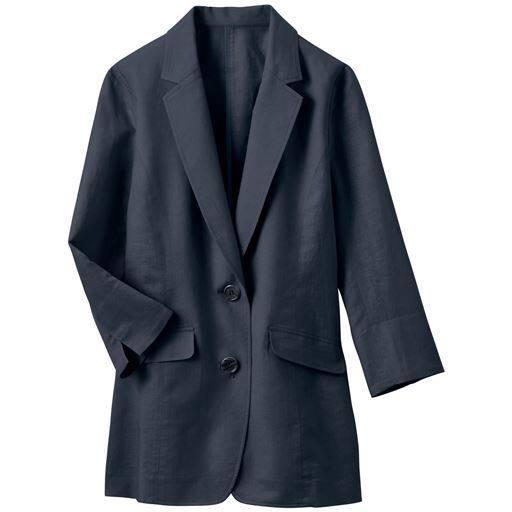 【レディース】 丈が選べるフレンチリネン混 テーラードジャケット(手洗いOK・選べる2レングス)