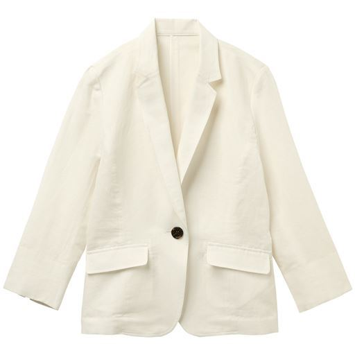 【レディース】 丈が選べるフレンチリネン混 テーラードジャケット(手洗いOK・選べる2レングス)の通販