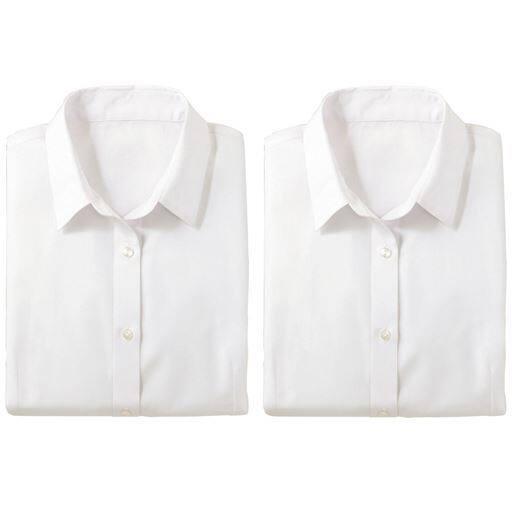 【レディース】 形態安定2枚組レギュラーカラーシャツ(長袖)