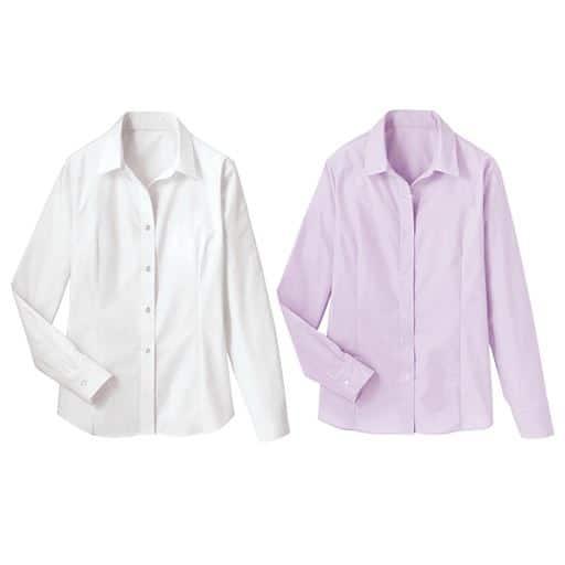 【レディース】 形態安定2枚組レギュラーカラーシャツ(長袖)の通販