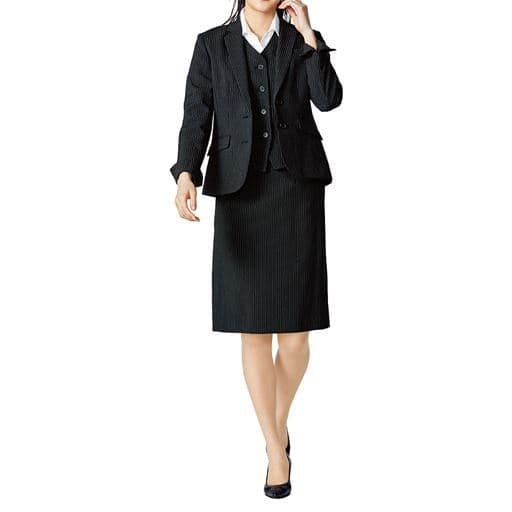 【レディース】 オフィススーツ(3点セット)(洗濯機OK、撥水、防汚加工、形態安定、ストレッチ素材) – セシール