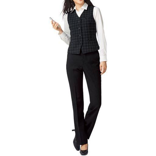 【レディース】 ベストスーツ(事務服・ストレッチ素材・洗濯機OK・撥水・形態安定・防汚加工・選べる2レングス)