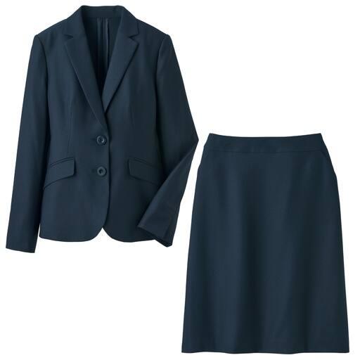 【レディース】 洗えるストレッチスカートスーツ(テーラドジャケット+セミフレアスカート)