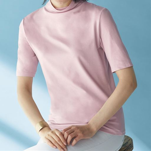 【レディース】 テンセルボトルネック5分袖Tシャツの通販