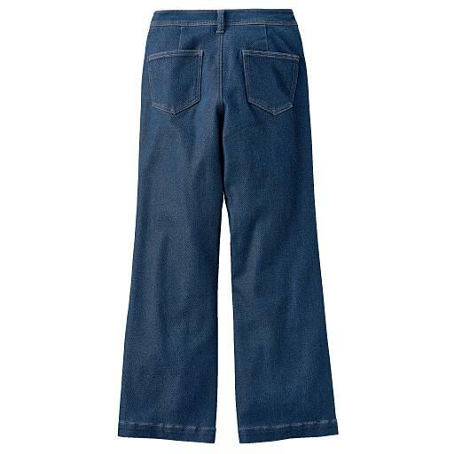 【レディース】 スウェット風ソフトワイドジーンズ