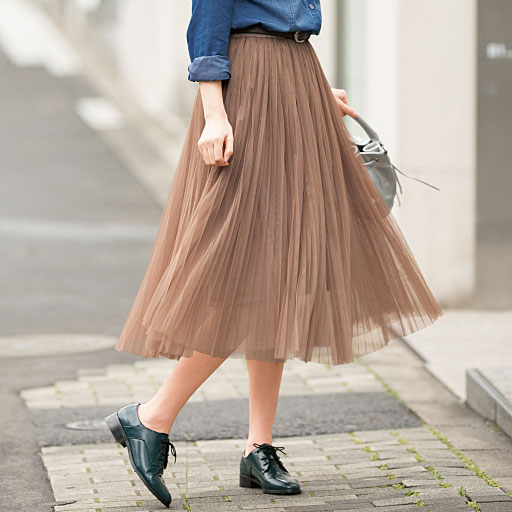【レディース大きいサイズ】 チュールレースプリーツスカート