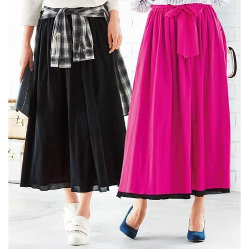 【レディース大きいサイズ】 リバーシブルカラースカート(綿100%)(春カラー)