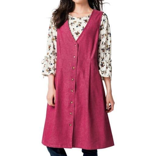 【レディース大きいサイズ】 エプロン型ジャンパースカート(選べる2レングス・綿100%) - セシール