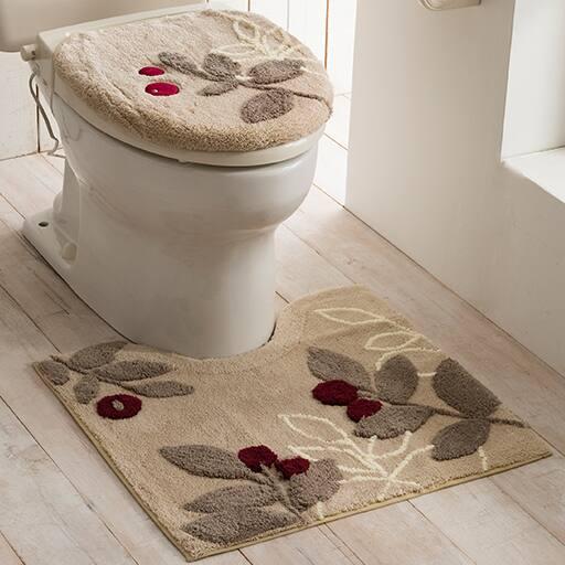 ラインリーフ柄抗菌防臭トイレ用品(単品販売)ふたカバー・トイレマット – セシール