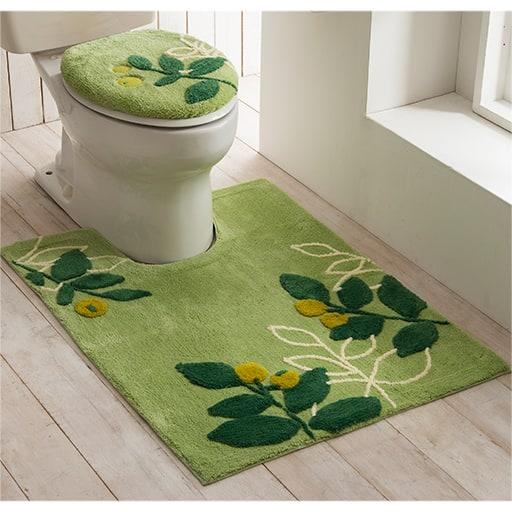 ラインリーフ柄抗菌防臭トイレ用品(単品販売)ふたカバー・トイレマットの写真