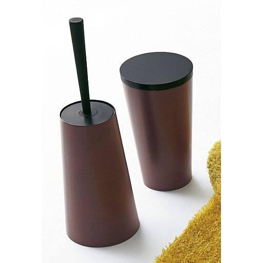 【日本製】木目塗りトイレ小物(単品販売) トイレブラシ、トイレポット ブラウン