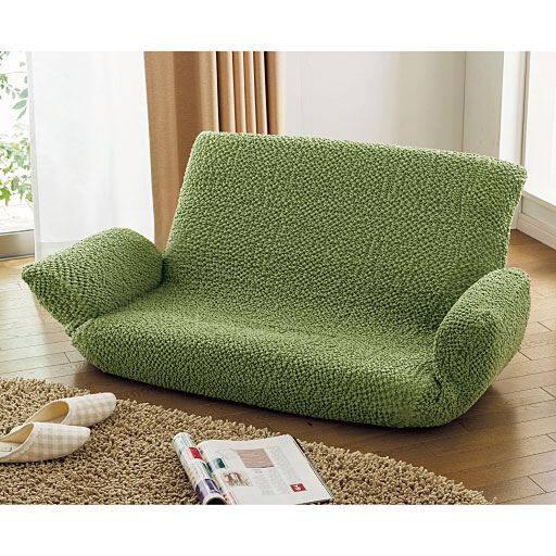 綿混のびてフィットする座椅子カバー・フロアソファカバー(縦横ストレッチ) 取り付け簡単!汚れたら丸洗いOKの写真