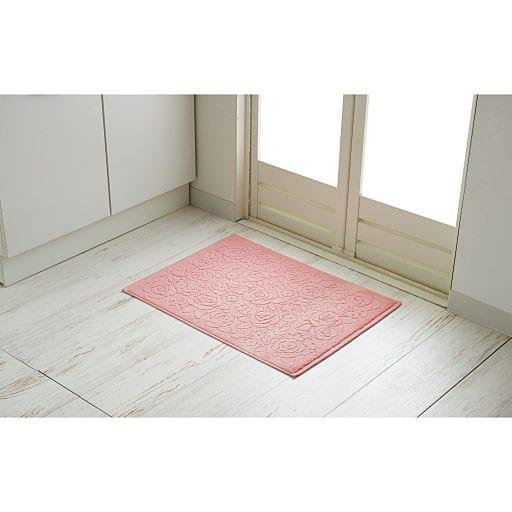 綿100%ローズ柄タオルバスマットの商品画像