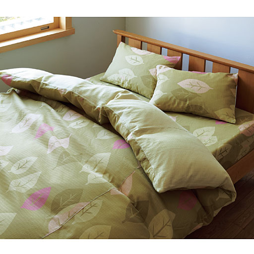 やわらか2重ガーゼ枕カバー(リーフ柄)の写真