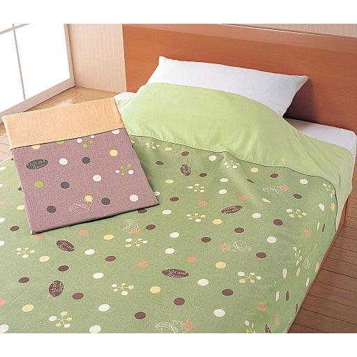 衿付ガーゼ毛布カバー(色違い2枚組)の写真