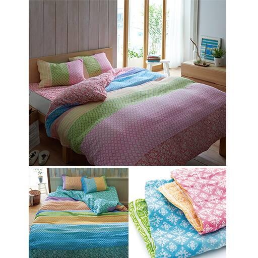 お肌に優しい柔らか仕上げ。洗いざらしの2重ガーゼ枕カバー(同柄2枚組)の写真