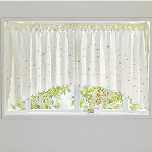 やや透けにくい花柄刺繍カフェカーテンの商品画像