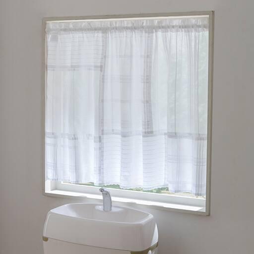 白い綿100%パッチワークカフェカーテン・のれんの写真