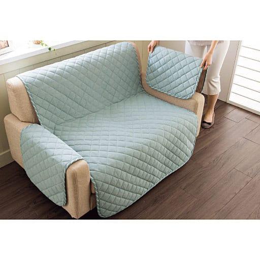 洗える平織抗菌防臭・防ダニソファカバー 肌に優しい綿100%平織り生地使用 ソファーのパッドシーツの写真