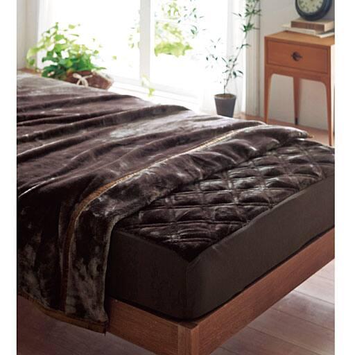 ミンク調パッド一体型ベッドシーツの写真