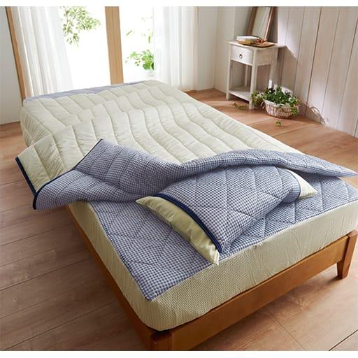 夏の寝汗対策に「吸汗・速乾・消臭」涼感パッド一体型ベッドシーツの写真